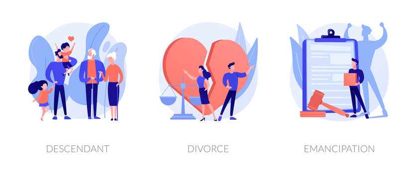 Society issues metaphors. Descendant, divorce, emancipation. Marriage annulment, social rights, gender equality. Wife and husband break up abstract concept vector illustration set.