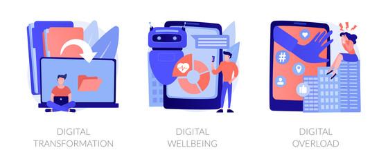Wall Mural - Technologies integration, online documents organization. Modern innovation. Digital transformation, digital wellbeing, digital overload metaphors. Vector isolated concept metaphor illustrations.