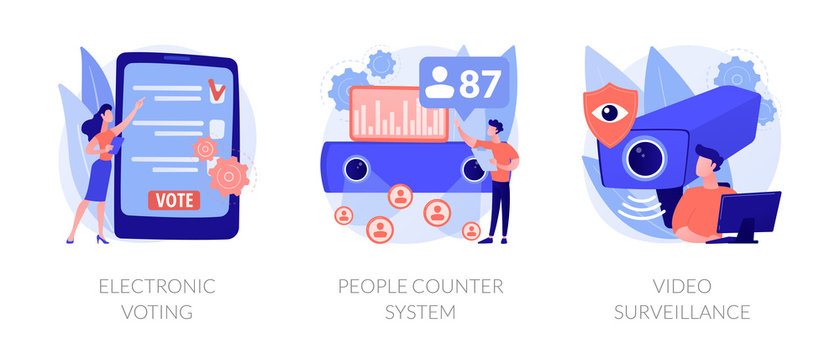 IP and CCTV cameras. Security technology, monitoring system. Electronic voting, people counter system, video surveillance metaphors. Vector isolated concept metaphor illustrations.