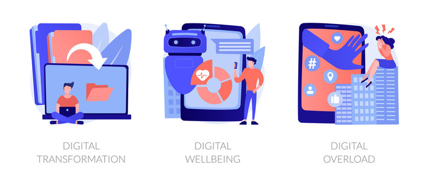 Technologies integration, online documents organization. Modern innovation. Digital transformation, digital wellbeing, digital overload metaphors. Vector isolated concept metaphor illustrations.