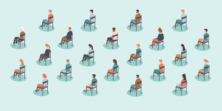 Social distancing on public events after coronavirus COVID-19 disease pandemicoubreak. Large gathering. People sitting with distance from each other. Concept Flat vector illustration