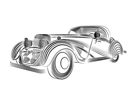 car vector line art for t-shirt or logo designs