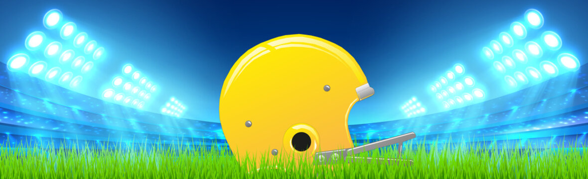 Realistic american football helmet lying in the grass at the stadium - Vector