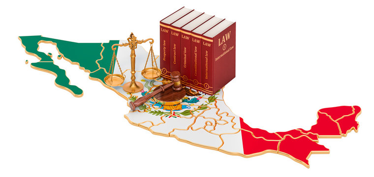 Law and justice in Mexico concept, 3D rendering