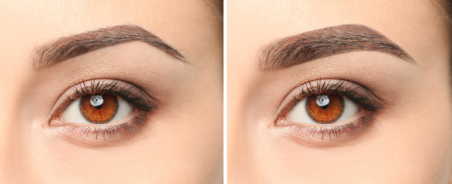 Woman before and after eyebrow correction, closeup. Banner design