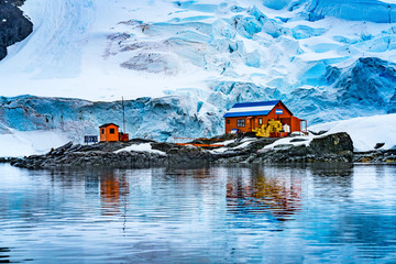 Snowing Argentine Station Blue Glacier Mountain Paradise Harbor Antarctica