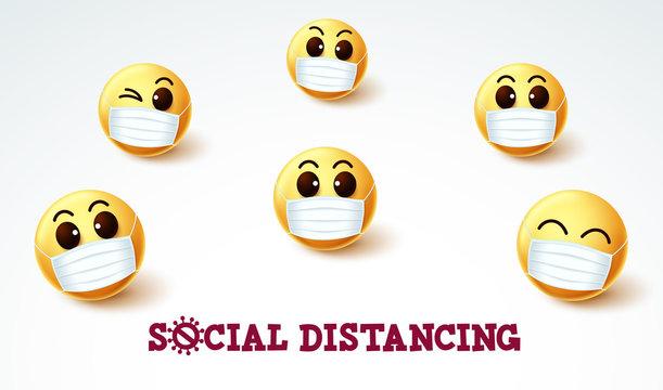 Emoji smiley social distancing vector sign. Social distancing emoji smileys wearing face mask for covid-19 coronavirus preventive measure. Vector illustration.