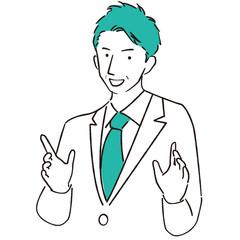 手描き1color 説明する中年の男性