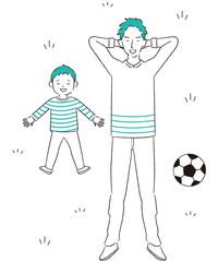 手描き1color 休日の親子寝転ぶ サッカー 休憩