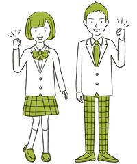 手描き1color 現役高校生中学生の男女 ブレザー ガッツポーズ