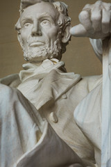 Washington DC, USA - 22 Dec 2019: Inside the Abraham Lincoln Memorial; Close-up of the Statue