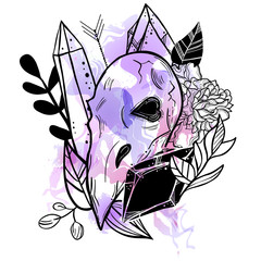 Fotorolgordijn Aquarel schedel Bohemian tattoo art style illustration with bird's skull and floral background with crystal gems. Witchcraft fantasy print.