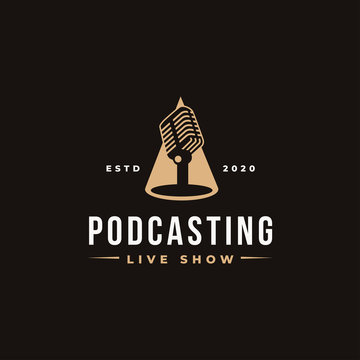 Stand microphone on spotlight logo, podcasting logo icon concept