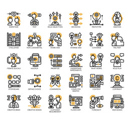 Set of design thinking thin line and pixel perfect icons for any web and app project.