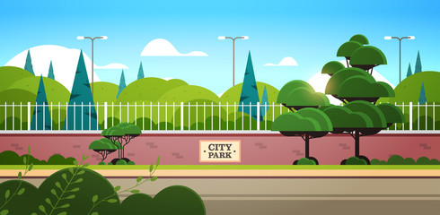 city park sign board on fence beautiful summer day sunrise landscape background horizontal vector illustration