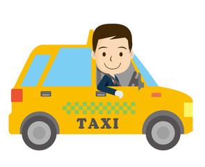 働く車と人物のイラスト|タクシーと笑顔のドライバーの男性