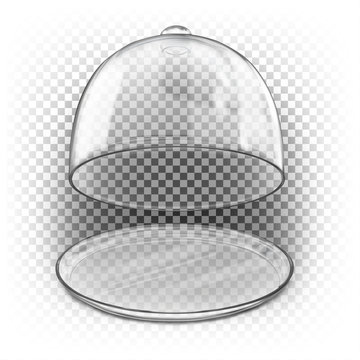 Open glass dome with a glass plate. Vector 3d realistic illustration isolated on white background. Empty dome for presentation. Cloche for dishes.
