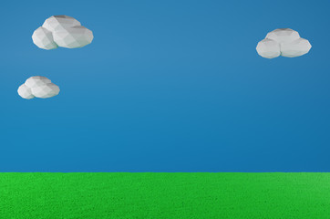 Grass Field and sky.Old video game. retro style Background.3D Render illustration.