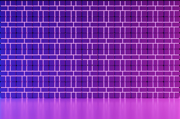 Concrete Brick Room illuminated by neon pink ,purple and blue light Background 3D Rendering Illustration.