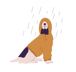 Funny dog wearing hoodie under rain vector flat illustration. Cute domestic animal dressed in hood at rainy seasonal weather isolated on white background. Adorable pet outdoor