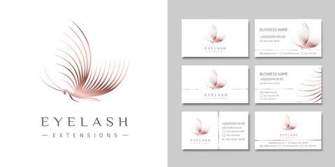 Eyelash extension logo in the shape of a butterfly and design business cards.
