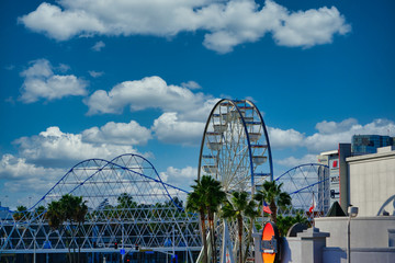 Ferris Wheel and Roller Coaster in Long Beach