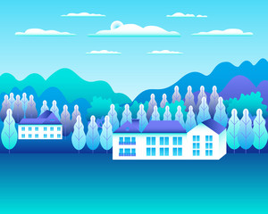 Photo sur Plexiglas Turquoise Rural or urban landscape outdoor. City or village in flat style design. Countryside with houses, buildings. Hills, mountains, forest, trees. Cartoon background nature vector illustration. Blue colors