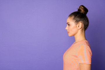 Profile side photo of minded intelligent girl imagine she real entrepreneur listen her colleagues decide decisions wear casual summer style clothes isolated over purple color background Wall mural