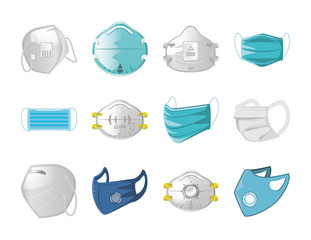 set of icons of medical mask on white background