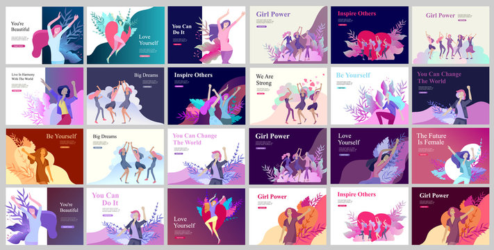 Web page design template for beauty dreams, International Womens Day, girls power, wellness, body care, healthy life, design vector illustration concept for website