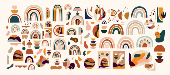 Fototapete - Decorative abstract horizontal banner with colorful doodles. Abstract shapes and rainbows. Hand-drawn modern illustrations. Pre-made abstract prints