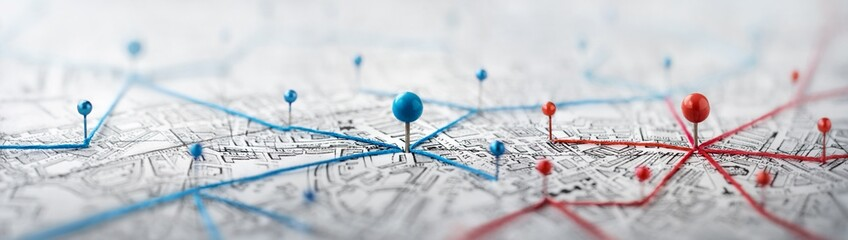 Find your way. Location marking with a pin on a map with routes. Adventure, discovery, navigation, communication, logistics, geography, transport and travel theme concept background.