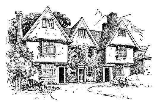 Manor House, vintage illustration.