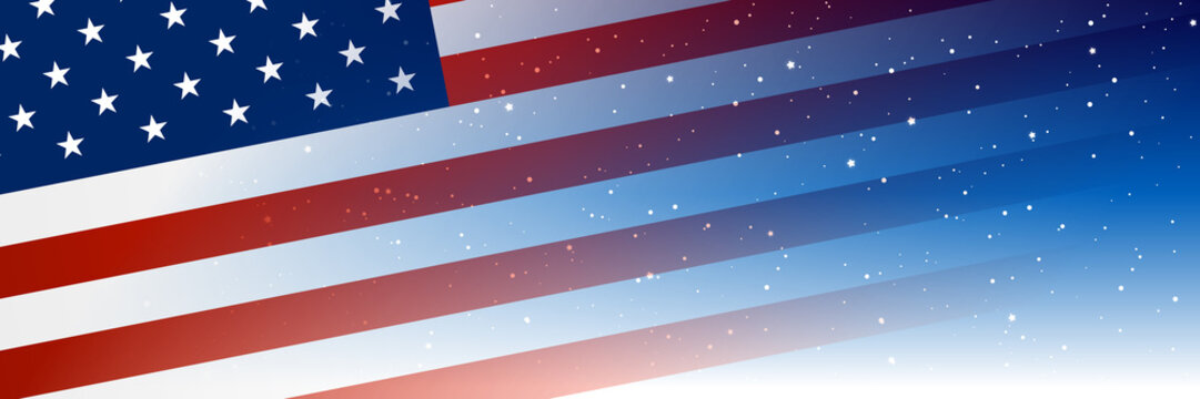 Independence day horizontal panoramic banner with American flag on night starry sky background