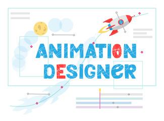 Animation designer lettering. Work at new art project. Flat design concept motion graphic, modeling artist job, video effect designer.  RGB illustration