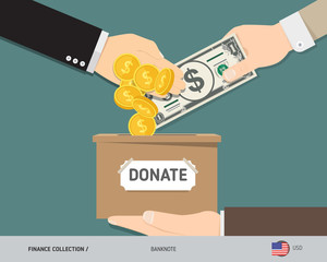 Hands putting 1 US Dollar banknote and gold coins in donation box. Donate money and charity concept. Flat style vector illustration.