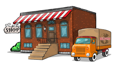 Old shop with vintage delivery car. Vector Illustration.