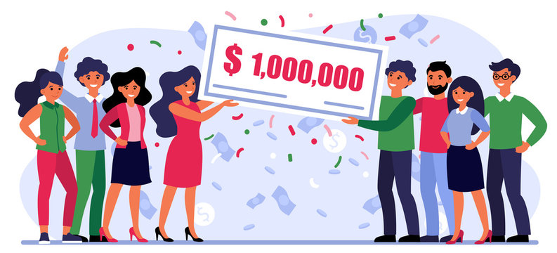 Happy people winning money prize. Bank check for one million dollars, jackpot, grant flat vector illustration. Fortune, luck, lottery concept for banner, website design or landing web page
