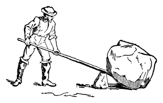 Man Using Lever and Fulcrum to Lift Rock, vintage illustration.