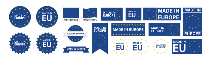 Fototapeta Made in Europe set flat icon for banner design. EU product isolated vector obraz