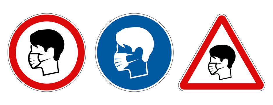 Different face mask protection required signs