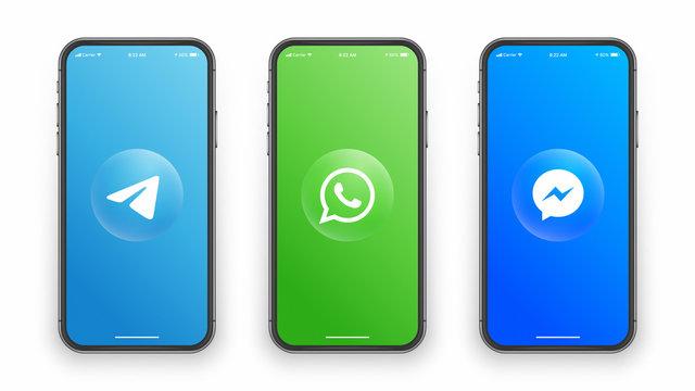 Telegram Whatsapp Messenger Logo Icon On Iphone Screen Vector Illustration On White Background. Design Template For Digital Business