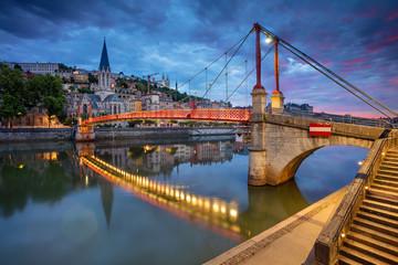 Fototapete - Lyon. Cityscape image of Lyon, France during sunrise.