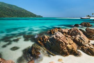 Amazing turquoise sea on tropical island