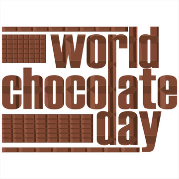World Chocolate Day with words and chocolate.vector illustration