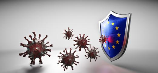 Shield in EU European Union flag protect from coronavirus COVID-19.