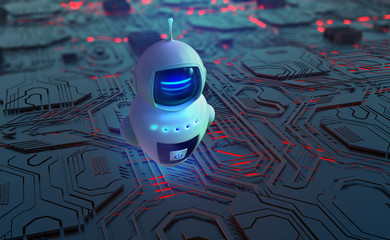 Robot, chat bot, android and digital evolution of robotics. Future processor development technologies. 3D illustration of quantum cyberspace. AI and global data