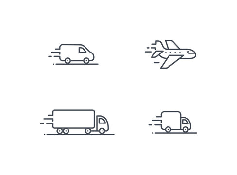 Delivery service vector icon set. Truck Van Semi truck Air plane logo collection isolated on white. Moving car sign