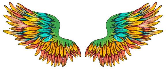 Beautiful magic bright yellow orange green wings, vector Wall mural