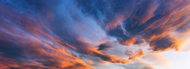 Dramatic view of the dark overcast sunset  sky. Beautiful world. Fotobehang